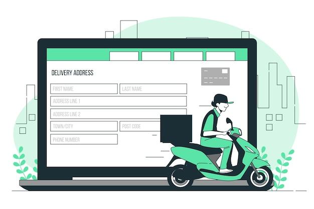 Ilustracja koncepcja adresu dostawy