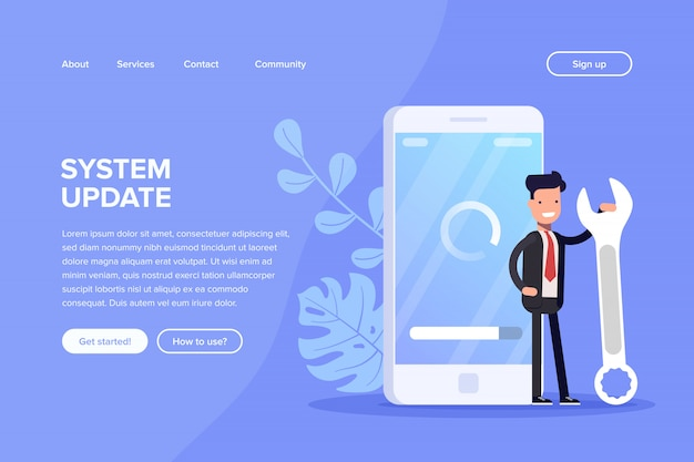 Ilustracja koncepcja aktualizacji systemu. ludzie aktualizacji systemu operacyjnego