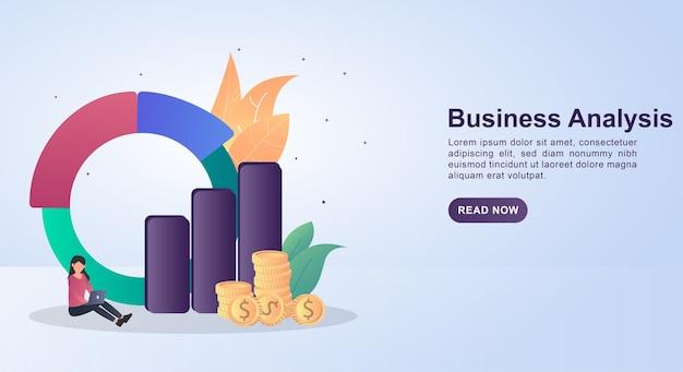 Ilustracja koncepcja analizy biznesowej z graficznym wykresem i ludźmi siedzącymi.