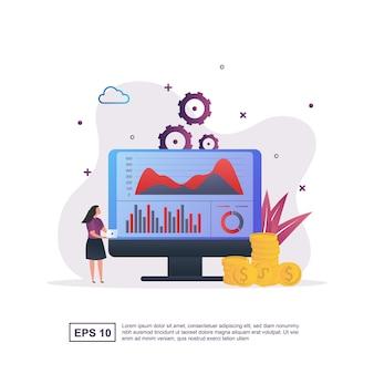 Ilustracja koncepcja analizy biznesowej z graficznym wykresem i osobami posiadającymi laptopa.