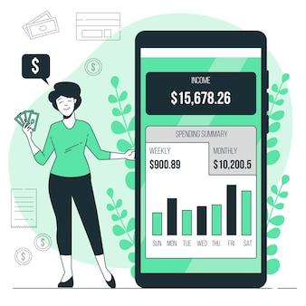 Ilustracja koncepcja aplikacji finansów