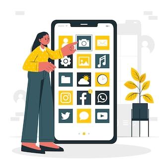 Ilustracja koncepcja aplikacji mobilnych