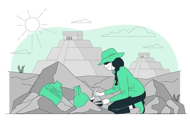 Ilustracja koncepcja archeologa