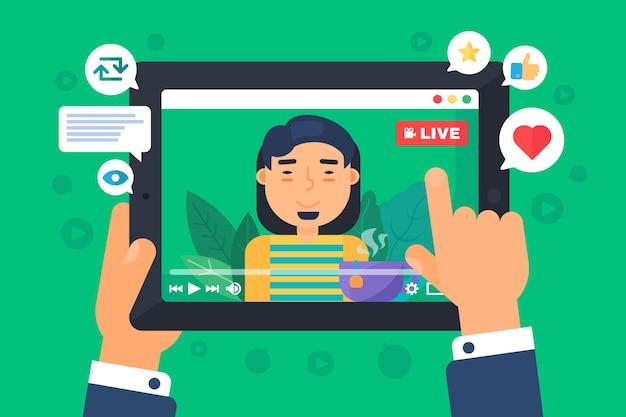 Ilustracja koncepcja azjatyckich mężczyzna web streamer. indyjski vlogger nagrywa transmisję na żywo online. ekran tabletu w rękach półpłaski rysunek kreskówki. kolor na białym tle