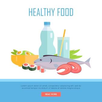 Ilustracja koncepcja baner zdrowej żywności.