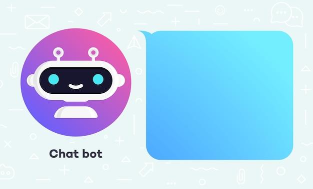 Ilustracja koncepcja banera bota czatu dla wirtualnego asystenta rozmowy bubble mowy marketingu cyfrowego czat