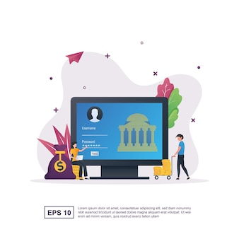 Ilustracja koncepcja bankowości internetowej, aby ułatwić klientom dokonywanie wszystkich transakcji bankowych, takich jak przekazy pieniężne i sprawdzanie salda.