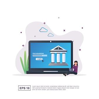 Ilustracja koncepcja bankowości internetowej z osobą siedzącą.