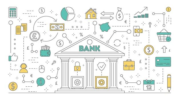 Ilustracja koncepcja banku. idea planowania finansowego, inwestowania i przelewania pieniędzy, płatności telefonem komórkowym i innych operacji. zestaw ikon bankowości. linia izolowana