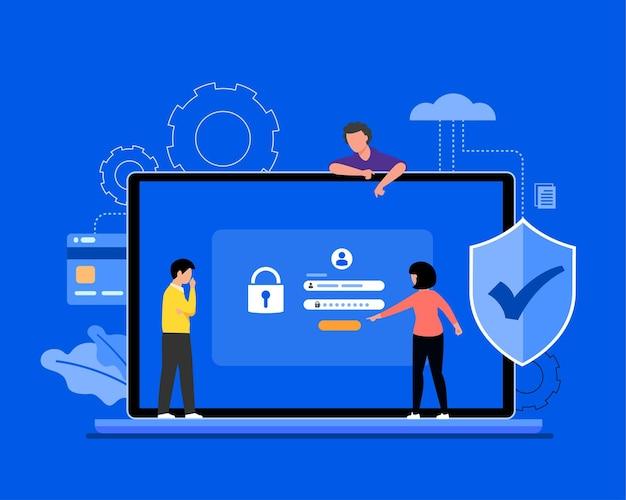 Ilustracja koncepcja bezpieczeństwa danych cybernetycznych, bezpieczeństwo w internecie lub prywatność i ochrona informacji.