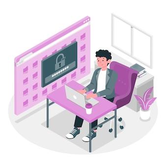 Ilustracja koncepcja bezpiecznego logowania