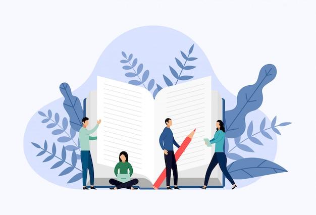 Ilustracja koncepcja biblioteki książek