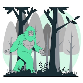 Ilustracja koncepcja bigfoot