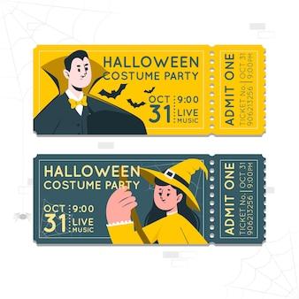 Ilustracja koncepcja biletów na halloween