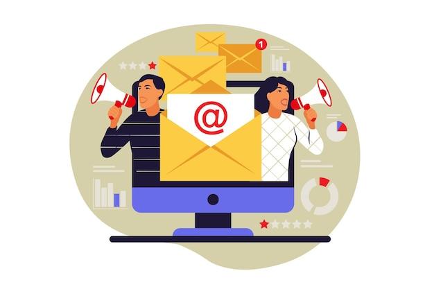 Ilustracja koncepcja biuletynu. wiadomość e-mail na ekranie komputera. wektor. mieszkanie