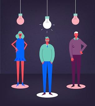 Ilustracja koncepcja biznesowa. stylizowane postacie. grupa kreatywna, praca zespołowa. świecąca żarówka, mężczyźni i kobiety