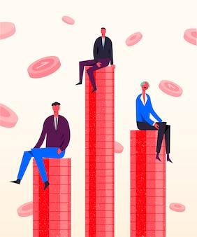 Ilustracja koncepcja biznesowa. stylizowane postacie siedzące na monetach. konkurencja w zarabianiu pieniędzy, rywalizacja biznesowa, różnorodność sukcesu, inwestycje