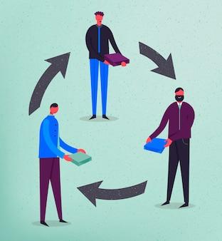 Ilustracja koncepcja biznesowa. stylizowane postacie. wymiana produktu. mężczyźni trzymający pudełka