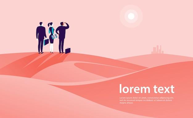 Ilustracja koncepcja biznesowa z ludźmi biznesu stojących na pustynnym wzgórzu i oglądania na horyzoncie miasta. metafora nowych celów, celu, celu, osiągnięć i aspiracji, motywacji, przezwyciężania