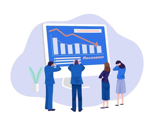 Ilustracja koncepcja biznesowa. zestresowani biznesmeni patrząc na spadający diagram.
