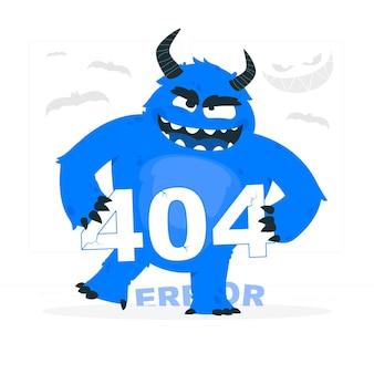 Ilustracja koncepcja błędu 404 potwora