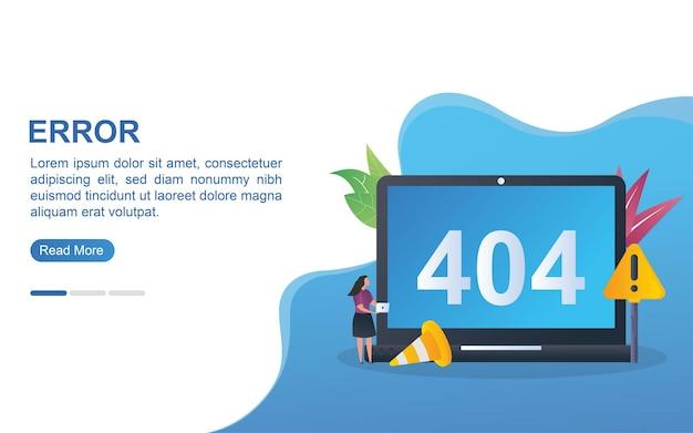 Ilustracja koncepcja błędu z powiadomieniami o błędach na monitorze i stożku.