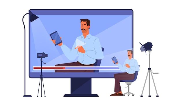 Ilustracja koncepcja bloggera. idea mediów społecznościowych i sieci. mężczyzna dokonujący recenzji smartfona na blogu wideo. ilustracja wektorowa w stylu cartoon