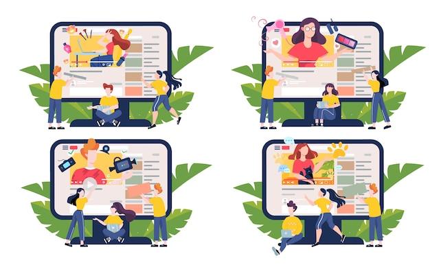Ilustracja koncepcja bloggera. udostępniaj treści w internecie. idea mediów społecznościowych i sieci. komunikacja przez internet. zestaw ilustracji