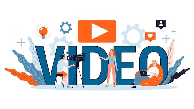 Ilustracja koncepcja blogowania wideo. udostępniaj treści w internecie. idea mediów społecznościowych i sieci. komunikacja przez internet.