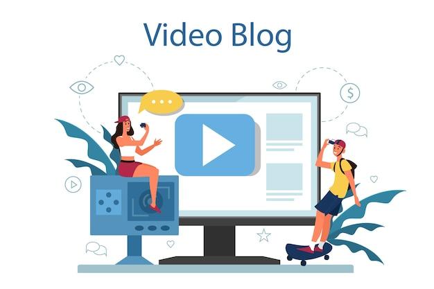 Ilustracja koncepcja blogu wideo