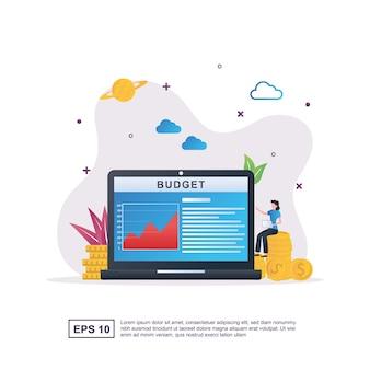 Ilustracja Koncepcja Budżetu Z Monetami I Ludźmi Siedzącymi Na Monetach. Premium Wektorów