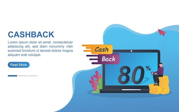 Ilustracja koncepcja cashbacku z ludźmi promującymi cashback do 80%.