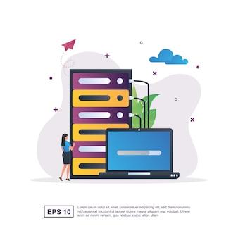 Ilustracja koncepcja centrum danych z dużym magazynem danych i laptopem.
