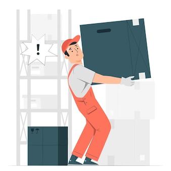 Ilustracja koncepcja ciężkiego pudełka