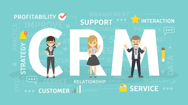 Ilustracja koncepcja crm. idea marketingu przychodzącego.