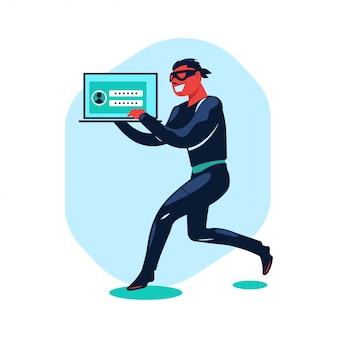 Ilustracja koncepcja cyberprzestępczość hakerów kradnących dane i wyłudzających informacje