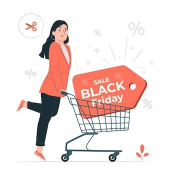 Ilustracja koncepcja czarny piątek