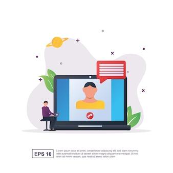 Ilustracja koncepcja czatu wideo z osobami, które prowadzą czat wideo.