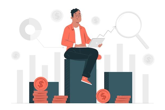 Ilustracja koncepcja danych inwestycyjnych