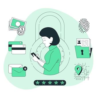 Ilustracja koncepcja danych prywatnych