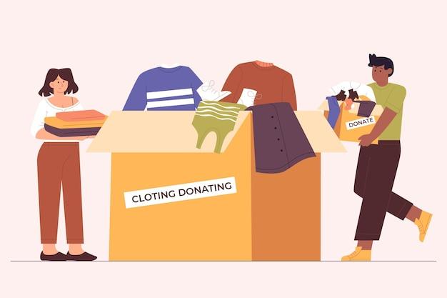 Ilustracja koncepcja darowizny płaskiej odzieży