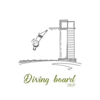 Ilustracja koncepcja deski do nurkowania