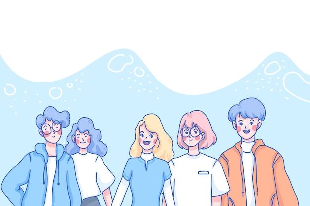 Ilustracja koncepcja dnia młodzieży. nastolatki są razem.