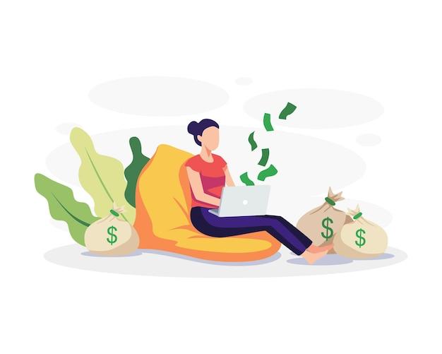 Ilustracja koncepcja dochodu pasywnego. młoda kobieta pracuje przed laptopem z pieniędzmi wokół niej. wektor w stylu płaskiej