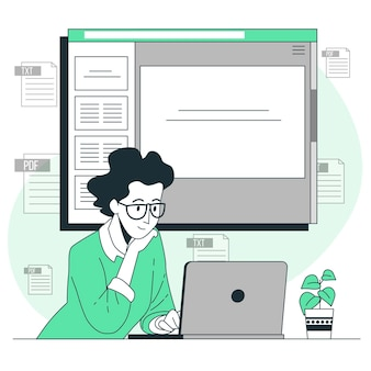 Ilustracja koncepcja dokumentu online