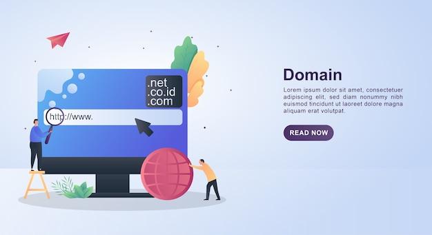 Ilustracja koncepcja domeny z osobą posiadającą lupę.