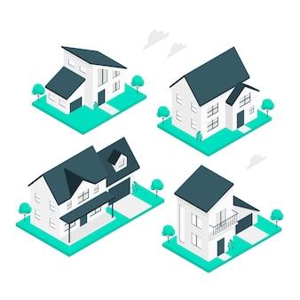 Ilustracja koncepcja domów