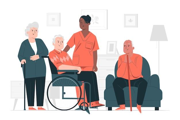 Ilustracja koncepcja domu opieki