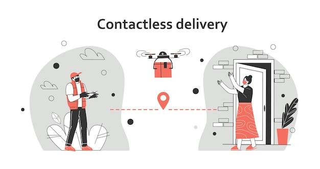 Ilustracja koncepcja dostawy zbliżeniowej. kurier dostarcza paczkę quadkopterem. w bezpiecznej odległości, aby chronić się przed covid-19 lub koronawirusem. ilustracja wektorowa płaski.