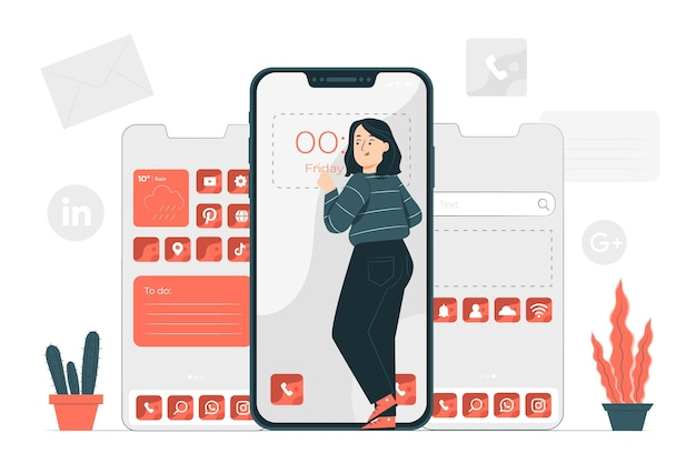 Ilustracja koncepcja dostosowywania telefonu